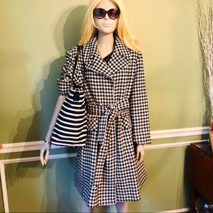 ♠️kate spade- Houndstooth Belted Trench Coat, XL♠️